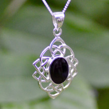 Large diamond shaped silver Celtic pendant with oval Whitby Jet stone