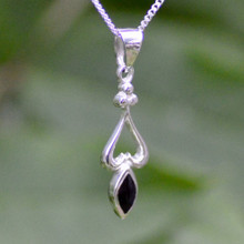 Small 925 silver and Whitby Jet marquise style necklace