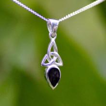 Silver Celtic Trinity Knot Pendant with Whitby Jet teardrop stone