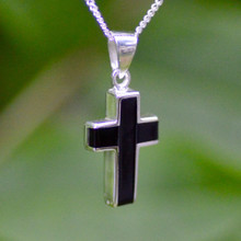 Contemporary solid 925 silver crucifix necklace with Whitby Jet