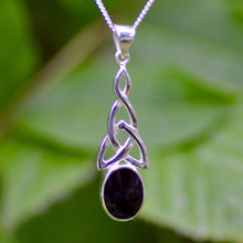 Large Whitby Jet Celtic Pendant 480P