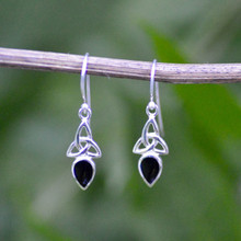 Small Celtic Whitby Jet Earrings 462E