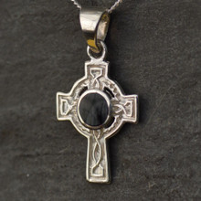 Small silver Celtic Whitby Jet Cross Pendant