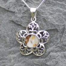 derbyshire blue john flower pendant on sterling silver chain