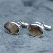 Large Oval Derbyshire Blue John cufflinks