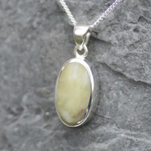 Large oval Connemara Marble and sterling silver pendant