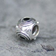 whitby jet and sterling silver pandora style charm bead