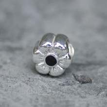 Whitby Jet and sterling silver flower charm bead for bracelet