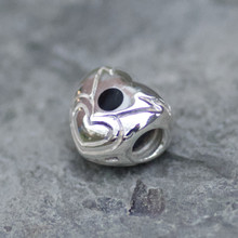 whitby jet and sterling silver heart charm bead