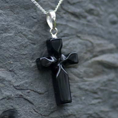 carved whitby jet cross pendant on sterling silver chain