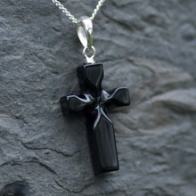 Unique hand carved Whitby Jet cross pendant on 925 sterling silver chain