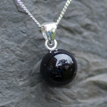 whitby jet fairy ball pendant