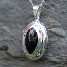 whitby jet marquise locket pendant