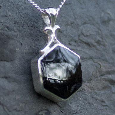 whitby jet  and lace agate hexagon pendant