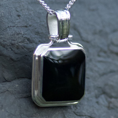 whitby jet and lace amethyst doble sided pendant