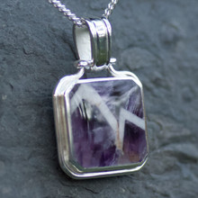 square whitby jet and lace amethyst reversible pendant on sterling silver chain