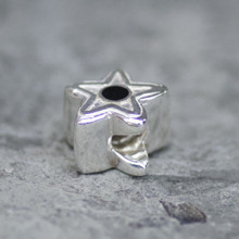 Whitby Jet and sterling silver star charm bead for bracelet