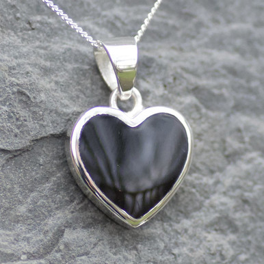 large whitby jet heart pendant on sterling silver chain