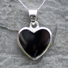 modern jet and silver heart necklace