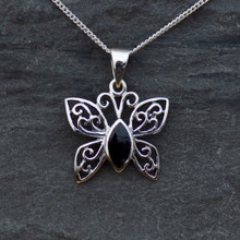 Sterling silver filigree butterfly necklace with Whitby Jet