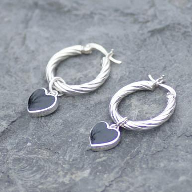 whitby jet heart hoop earrings