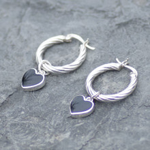 whitby jet heart hoop earrings