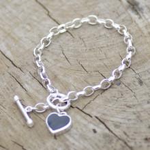 whitby jet heart t-bar bracelet