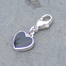 jet and sterling silver heart charm