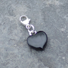 Hand carved Whitby Jet heart charm on sterling silver for bracelet