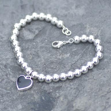 whitby jet heart beaded bracelet
