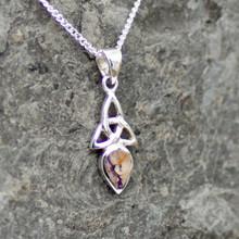 Derbyshire blue john and sterling silver Celtic Trinity Knot pendant