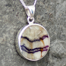 large round derbyshire blue john and sterling silver pendant