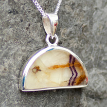 derbyshire blue john and sterling silver semicircular pendant