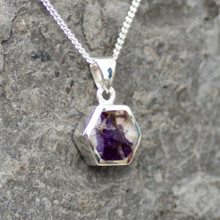 derbyshire blue john and sterling silver hexagon pendant