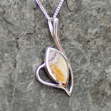 Contemporary Derbyshire blue john and sterling silver marquise pendant