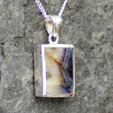 Derbyshire blue john and sterling silver chunky oblong pendant