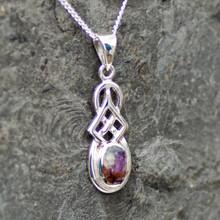 derbyshire blue john and sterling silver celtic pendant