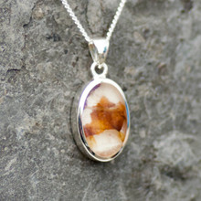 Derbyshire blue john and sterling silver oval stone pendant