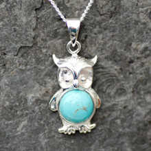 Handmade Kingman turquoise and sterling silver owl necklace