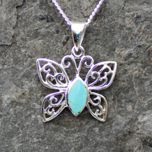handmade kingman turquoise and sterling silver butterfly pendant