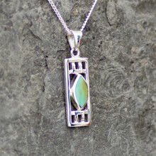 Rectangular Kingman turquoise and sterling silver marquise stone pendant