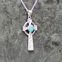 kingman turquoise and sterling silver cross pendant