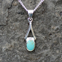 handmade kingman turquoise and sterling silver small wishbone pendant