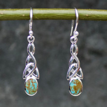 celtic kingman turquoise and sterling silver drop earrings