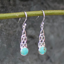 Handcrafted Celtic Kingman turquoise and sterling silver round stone drop earrings
