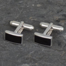 Whitby Jet Rectangle Cufflinks 190C