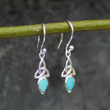 handmade celtic teardrop kingman turquoise and sterling silver drop earrings