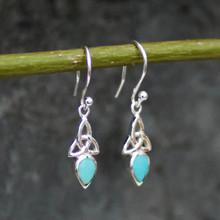 Handmade Celtic teardrop Kingman turquoise and sterling silver drop earrings