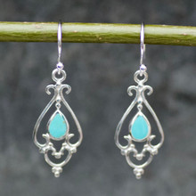 kingman turquoise and sterling silver filigree teardrop earrings