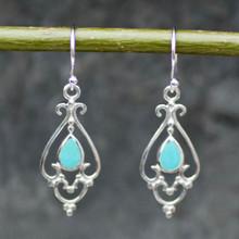 Kingman turquoise and sterling silver filigree teardrop earrings